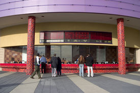 picture of matinee  - the front area of a movie theater where people buy tickets - JPG