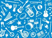 stock photo of trumpets  - Vectore image seamless background with musical instruments - JPG