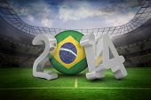 stock photo of football  - Brazil against large football stadium with lights - JPG