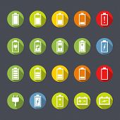 foto of accumulative  - Set of battery and accumulator icons - JPG