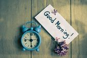 stock photo of morning  - Good morning note lilac flowers and old - JPG
