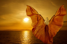 stock photo of water bird  - Woman with butterfly wings flying on fantasy sea sunset relaxation meditation concept - JPG