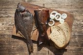 foto of flounder  - smoked fish salmon and flounder delicious and gourmet food - JPG