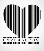 picture of barcode  - Black Barcode Heart  Image Vector Illustration - JPG