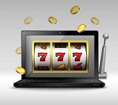 image of coin slot  - Online gambling concept with laptop and slot machine handle and coins vector illustration - JPG