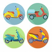 picture of scooter  - Scooter icon flat set with urban vehicle speed transport isolated vector illustration - JPG