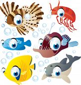 picture of game-fish  - vector cartoon sea animal set - JPG