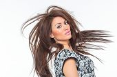 stock photo of hair motion  - Beautiful Healthy Girl with hair motion - JPG