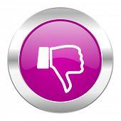 image of dislike  - dislike violet circle chrome web icon isolated - JPG