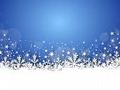 pic of glowing  - Illustration of winter blue christmas background with stars - JPG