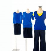 image of dress mannequin  - female three dress on mannequin isolated  - JPG