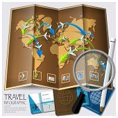 pic of passport template  - Travel And Journey World Map Infographic Design Template - JPG