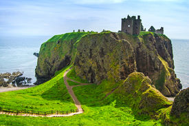 picture of british culture  - Dunnottar scottisch medieval fortress or castle - JPG