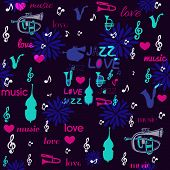 stock photo of sax  - Cartoon neon instruments with dark blue background - JPG