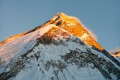 stock photo of nepali  - Evening view of Everest from Pumo Ri base camp  - JPG
