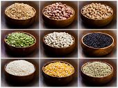 picture of legume  - collage of different type of legumes isolated on wood - JPG