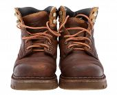 picture of work boots  - Old work boots in front of white background - JPG