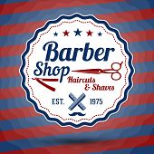 picture of barber  - Vector retro stylized sign for Barber Shop on classic barbers background - JPG