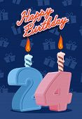 stock photo of 24th  - Happy birthday card with 24th birthday - JPG