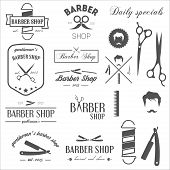 foto of barbershop  - Set of vintage retro labels - JPG