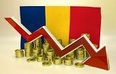 stock photo of collapse  - 3D finance graph  - JPG
