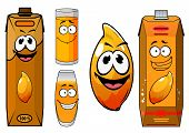 picture of mango  - Fresh mango juice cartoon characters with ripe glossy orange mango fruit - JPG
