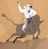 picture of bull-riding  - vector illustration of a rodeo cowboy bull riding done in art deco retro style - JPG