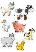 picture of sheep-dog  - Funny cartoon farm animals and bird characters depicting cow - JPG