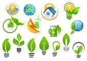 pic of solar battery  - Abstract ecology icons depicting light bulbs with green leaves - JPG