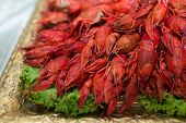 picture of cooked blue crab  - Red cooked crayfish as a snack on a golden tray - JPG