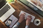 stock photo of enterprise  - Start up corporate identity website on laptop digital tablet and smart phone business desktop - JPG