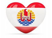 picture of french polynesia  - Heart shaped icon with flag of french polynesia isolated on white - JPG