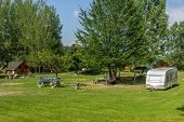 foto of caravan  - Typical european camping with  bungalows and caravans to rent.