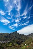 pic of wispy  - Gran Canaria February wispy cirrus clouds over Roque Bentayga - JPG