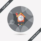 stock photo of pendulum clock  - Cuckoo Clock Flat Icon With Long Shadow - JPG