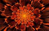 picture of fieri  - Abstract fractal with fiery orange flower on black background - JPG