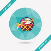 stock photo of gift basket  - Christmas Gift Baskets Flat Icon With Long Shadow - JPG