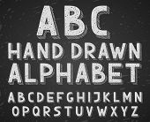 pic of hand alphabet  - Vector hand drawn doodle sketch alphabet letters written with a chalk on blackboard or chalkboard - JPG