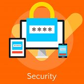 Постер, плакат: Flat Design Vector Illustration Concepts For Data Security And Internet Security