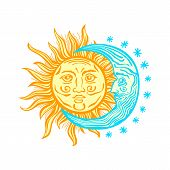 image of crescent-shaped  - Sun month and stars - JPG