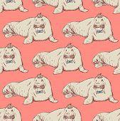 stock photo of blubber  - Sketch fancy walrus in vintage style vector seamless pattern - JPG