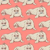 picture of blubber  - Sketch fancy walrus in vintage style vector seamless pattern - JPG