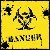 stock photo of biological hazard  - Vector biohazard icon yellow and black - JPG