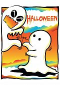 pic of titillation  - Halloween theme little ghost tickle another ghost eh - JPG