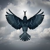 picture of leadership  - Success freedom business concept as a man riding an open wing bird flying upward as a symbol for reaching career goals or leadership vision - JPG