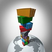 picture of export  - Global cargo transportation concept as a high stack of transport containers towering over the planet as a symbol for international trade for importing and exporting - JPG