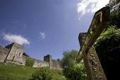 picture of chepstow  - chepstow castle monmouthside wales starting point of the long distance footpaths the offas dyke path and the river wye valley walk - JPG