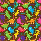 stock photo of dinosaurus  - Dinosaur Seamless Tileable Vector Background Pattern or Texture - JPG