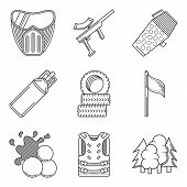 foto of paintball  - Set of black flat line vector icons for paintballing on white background - JPG