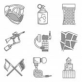 stock photo of hopper  - Set of black flat line vector icons for paintballing on white background - JPG